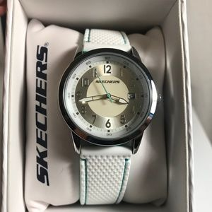 Skechers Sports Watch White Turquoise SR6102 NEW
